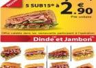 Les Sub15 de Subway à 2,90 euros  - 5 Sub15 à 2,15 euros