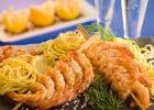 Poissons et fruits de mer à La Piazza Papa  - Spaghettis aux St Jacques et gambas
