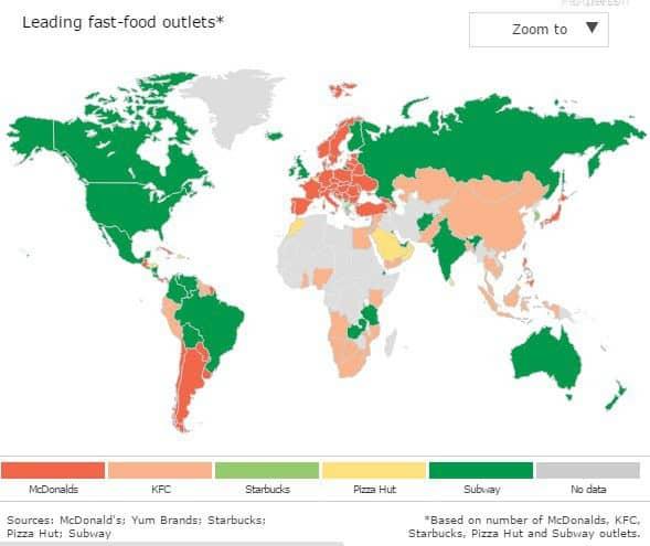 Implantations dans le monde des fast-food US