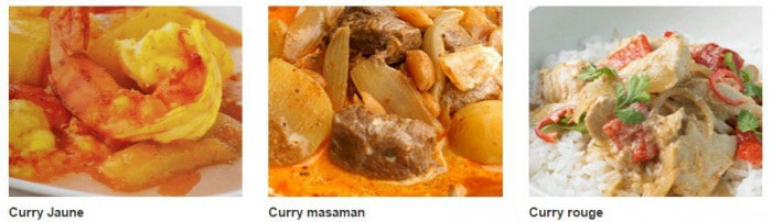 Plats de curry thaïlandais