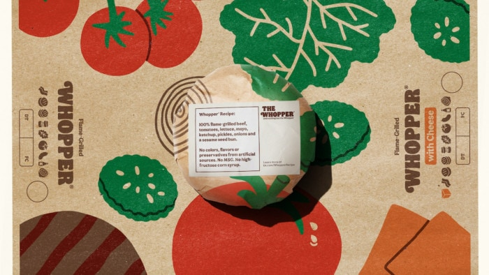 Emballage avec recette du Whopper
