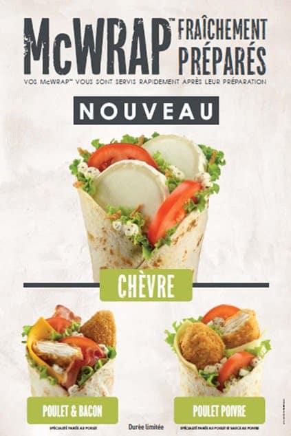 Affiche de promotion du Mcwrap Chevre