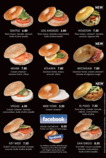 Carte des bagels