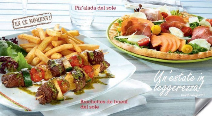 Piz'alada et Brochette de boeuf del sole