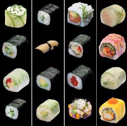Mosaïque de sushis et makis
