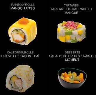 Tartare, roll et fruits coupés