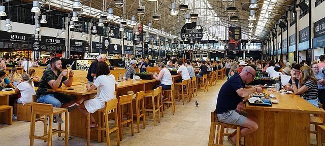 Food court, food hall et food market