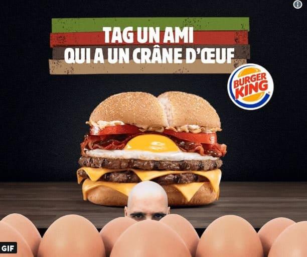 Egg burgers gratuits pour les clients chauves