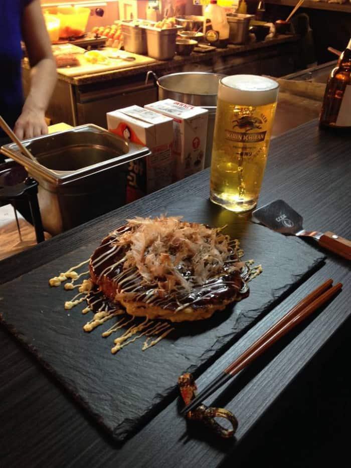 Kirin Ichiban en pression et okonomiyaki
