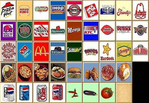 Patchwork des visuels de fast-food