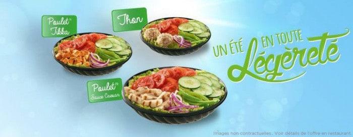 Les salades de Subway