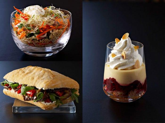 Salade, sandwich et dessert