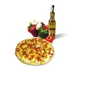 Pizza, poivrons, tomates et huile d'olive