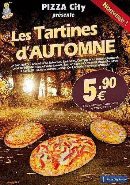 Tartines d'automne chez Pizza City