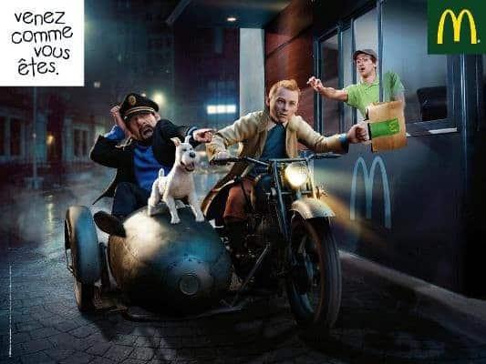 Tintin et capitaine Haddock au drive de McDo