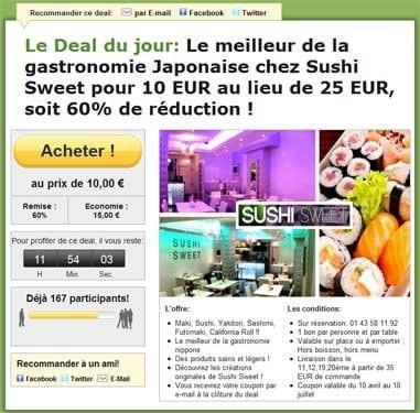 Promotion sur les sushis