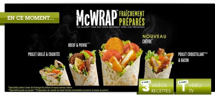 Les McWrap dont le McWrap Chèvre