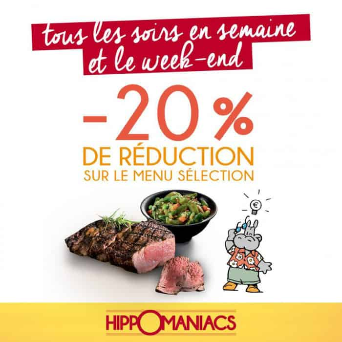 Une réduction de 20% sur le prix d'un menu