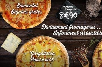 3 pizzas infiniment fromagères chez La Boîte à Pizza