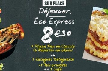 Le menu Eco Express de Pizza Hut