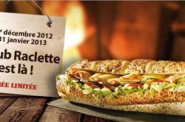 Le Sub Raclette par Subway