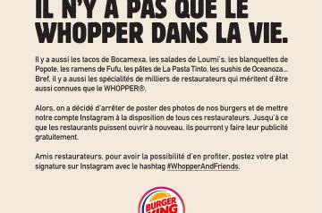 Quand Burger King vient à la rescousse des restaurateurs