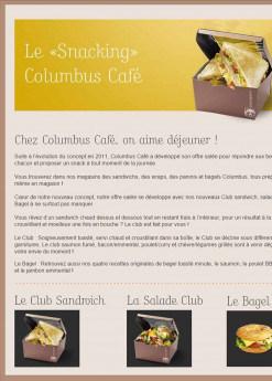 Menu Columbus café & co - Le snacking