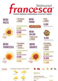 Menu Francesca - les plats et formules proposés par Francesca