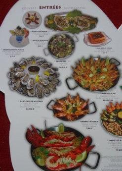 Menu Pedra Alta - Entrées : fruits de mer, huitres, gambas, palourde, homard
