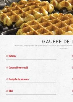Menu Waffle factory - Les gaufres de Liège