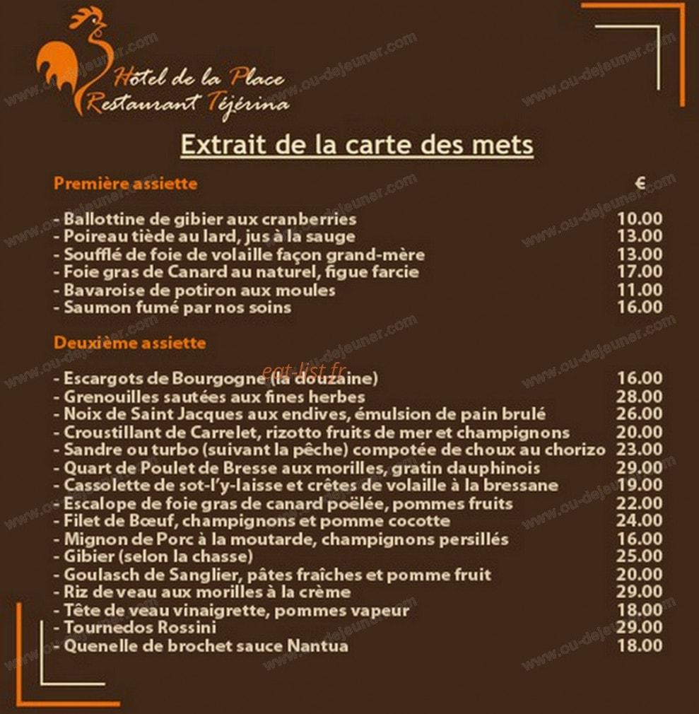 Téjérina à Polliat, carte-menu et photos