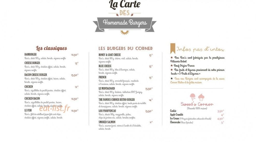 Corner bistro à Aix En Provence, carte-menu et photos