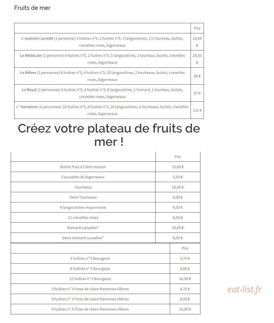 Le Carrelet à Royan, carte-menu et photos