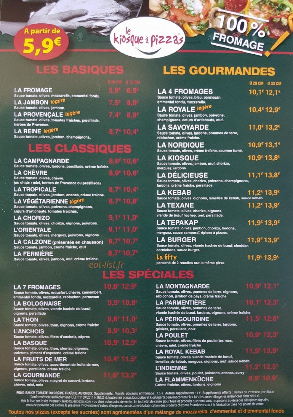 carte kiosque a pizza Le Kiosque à Pizzas à Montignac, carte menu et photo