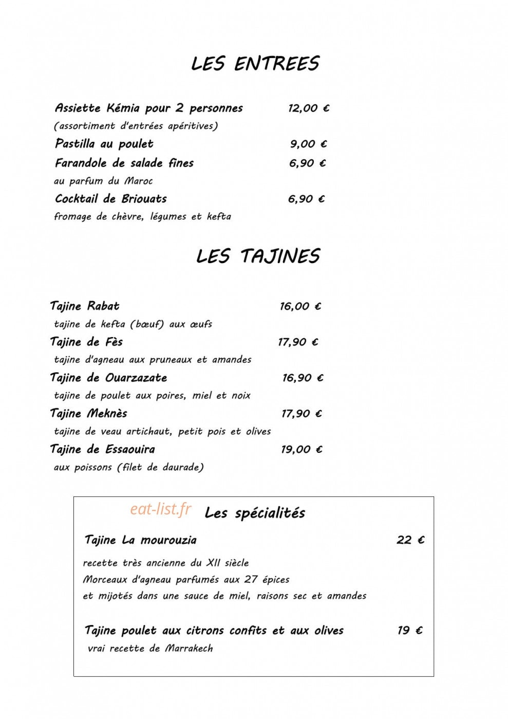 La Table Du Maroc A Le Mans Carte Menu Et Photos