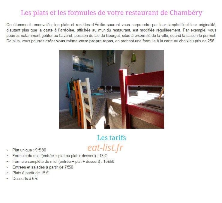 La Cuisine D Emilie A Chambery Carte Menu Et Photos
