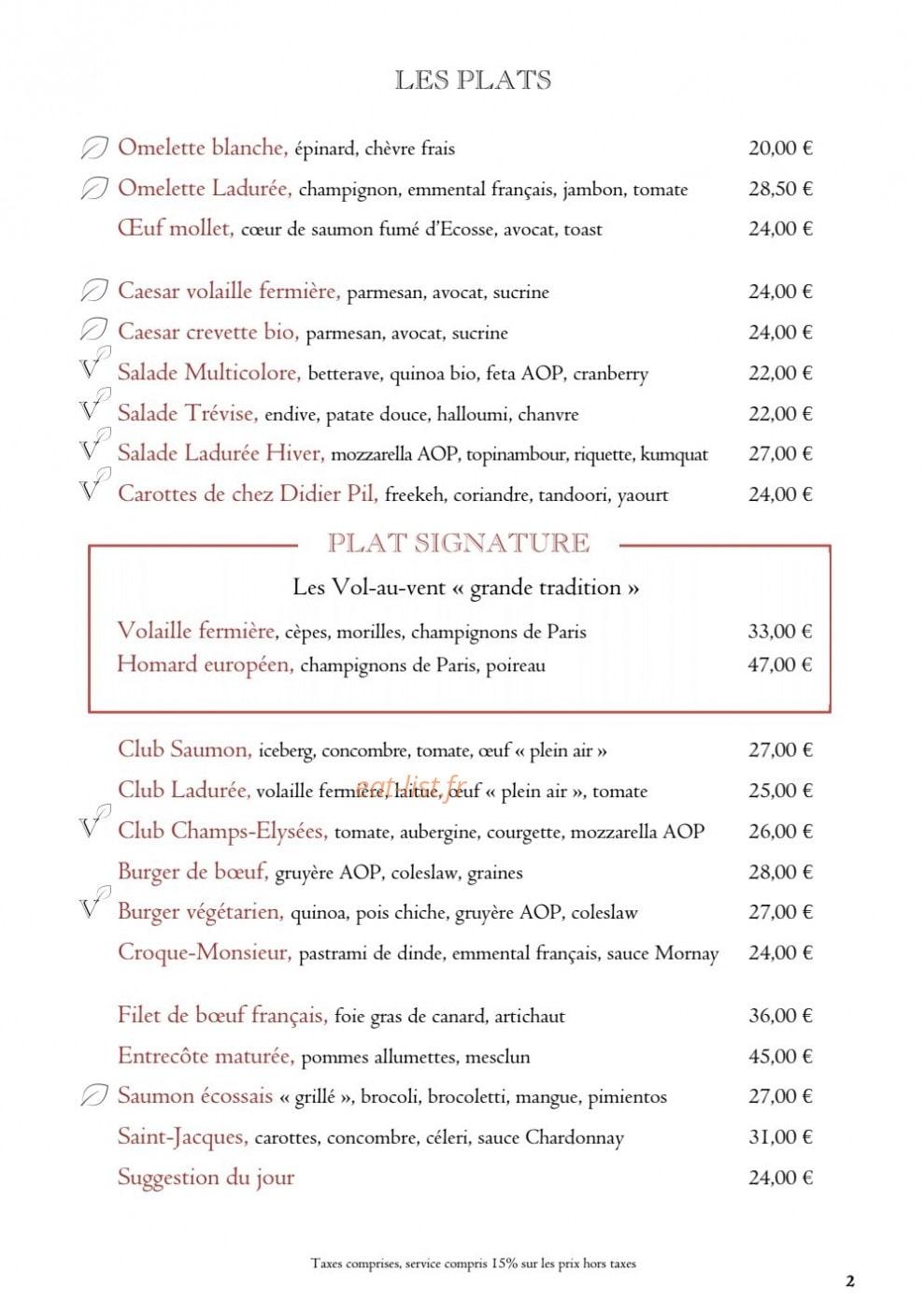 Ladurée à Paris 8, carte-menu et photos
