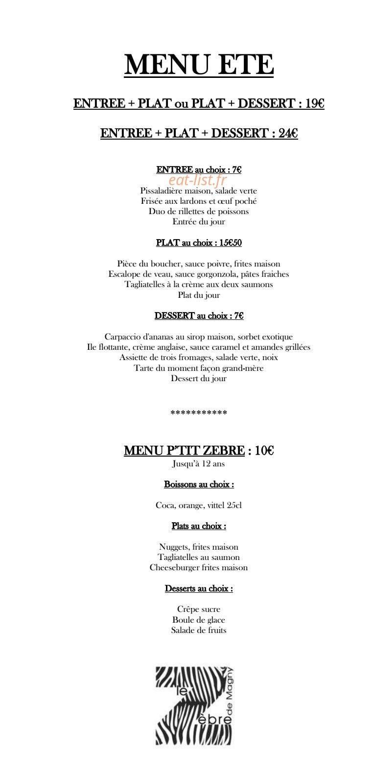 Magny Le Hongre Restaurant le zèbre de magny à magny le hongre, carte-menu et photos