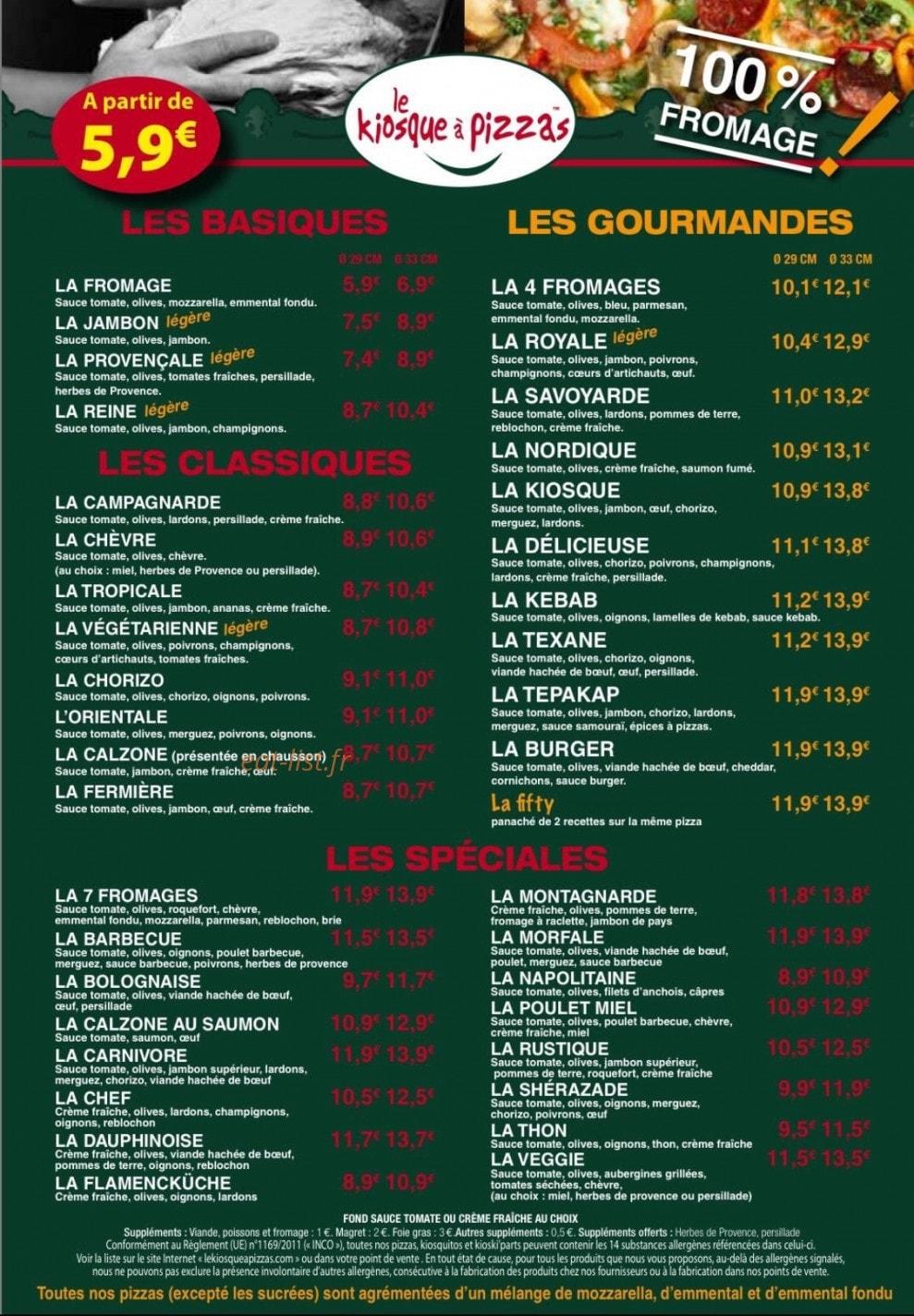 carte kiosque a pizza Le Kiosque à Pizzas à Rubelles, carte menu et photo