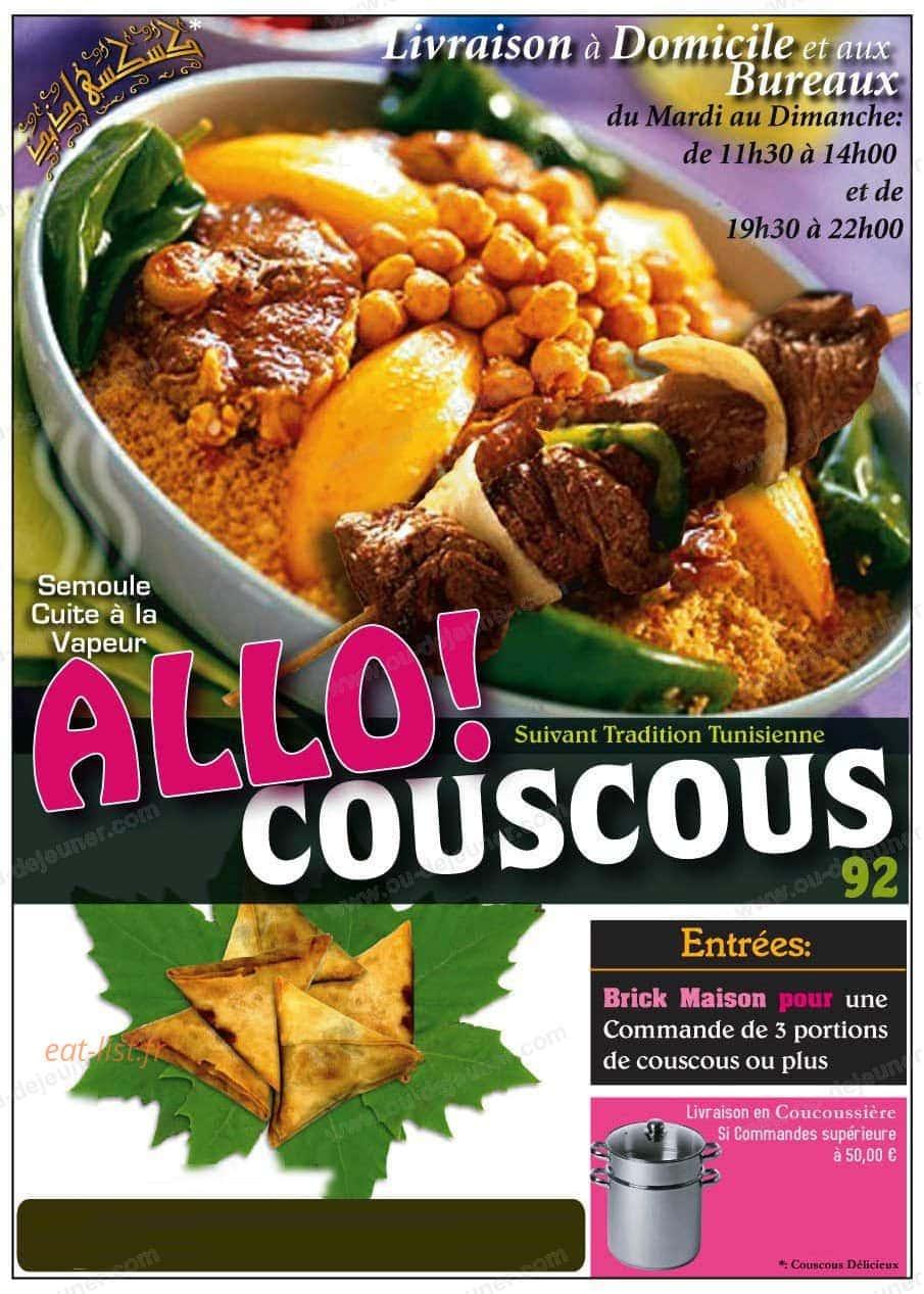 Allo Couscous à Asnieres Sur Seine, carte et menu en ligne