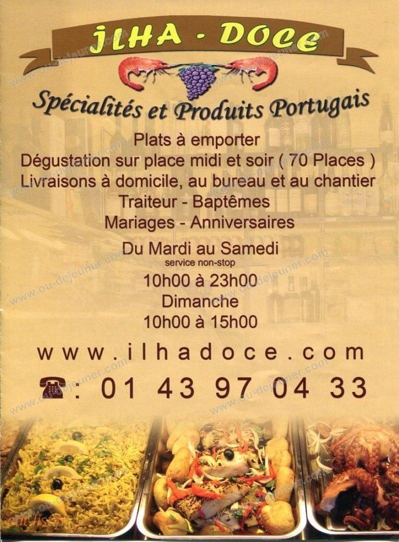 Ilha Doce à Champigny Sur Marne, carte et menu en ligne