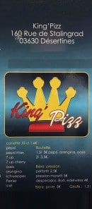 Menu King'pizz - Canette, bières...