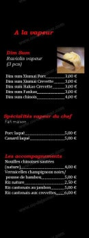 Menu Restaurant Iki - Les vapeurs