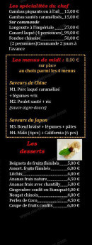 Menu Restaurant Iki - Les spécialités, menus et desserts