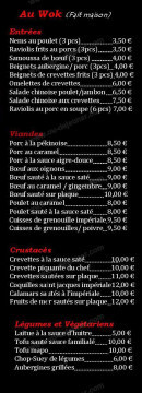 Menu Restaurant Iki - Les entrées, viandes,....