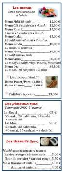 Menu Restaurant Iki - Les menus, plateaux et desserts