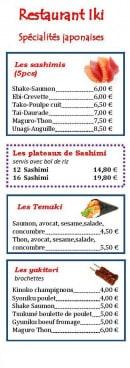 Menu Restaurant Iki - Les sashimis, plateaux,....