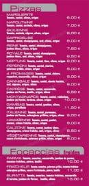 Menu Brasserie du Col - les pizza et focaccias