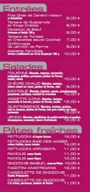 Menu Brasserie du Col - les entrées, salades et pâtes