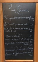 Menu La Cucina - Un extrait de la carte